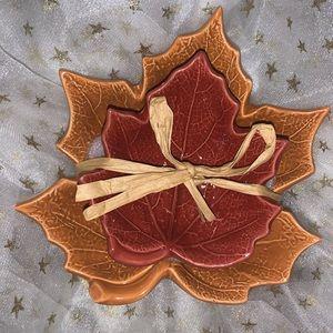 Hallmark set of 2 leaf bowls fall autumn decor